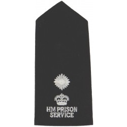 HM Prison Service Rank Slide - Senior Officer 1-Star - 1987-2000 with Queen Elizabeth's Crown. Embroidered UK Police or Prison i