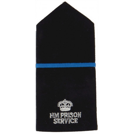 HM Prison Service Rank Slide - Auxiliary Grade Blue Bar - 1987-2000 with Queen Elizabeth's Crown. Embroidered UK Police or Priso