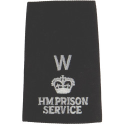 HM Prison Service Rank Slide - Works Officer W - 1987-2000 with Queen Elizabeth's Crown. Embroidered UK Police or Prison insigni