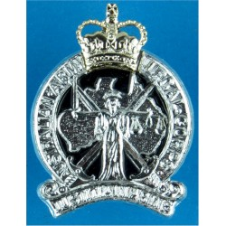 Australian Army Legal Corps Spike Fitting with Queen Elizabeth's Crown. Anodised and enamel Officers' collar badge