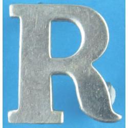 Police Shoulder / Collar Letter R   Chrome-plated UK Police or Prison insignia