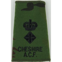 Cheshire ACF Lieutenant Colonel - Black On DPM Camo Rank Slide with Queen Elizabeth's Crown. Embroidered Officer rank badge