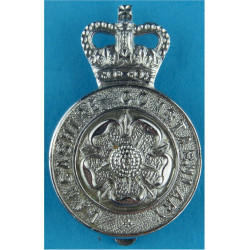 Lancashire Constabulary - Rose Centre Cap Badge with Queen Elizabeth's Crown. Chrome-plated Police or Prisons hat badge