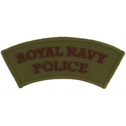 Royal Navy / Police - Curved Shoulder Title Brown On Light Brown  Embroidered Naval Branch, rank or miscellaneous insignia