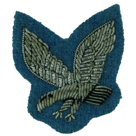 Army Air Corps (Silver Eagle On Sky Blue) FL - Mess Kit  Bullion wire-embroidered Regimental cloth arm badge
