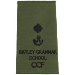 Batley Grammar School CCF Second Lieutenant Rank Slide - Olive  Embroidered Officer rank badge