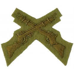 Crossed Rifles (Marksman) Cheshire Regiment Mess Kit Small - On Buff  Bullion wire-embroidered Army cloth trade badge