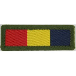 Royal Electrical & Mechanical Engineers (Olive Edge) Blue/Yellow/Red  Woven Regimental cloth arm badge