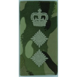 Colonel - Green On MTP Camouflage Rank Slide with Queen Elizabeth's Crown. Embroidered Officer rank badge