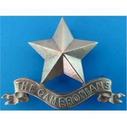 Cameronians (Scottish Rifles) Piper's Cap Badge   White Metal Other Ranks' metal cap badge