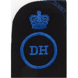 WRNS Dental Hygienist (DH In Circle) + Crown Trade: Blue On Navy with Queen Elizabeth's Crown. Embroidered Naval Branch, rank or