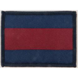 Guards - 52mm X 70mm - New Merrowed Edge Type Blue/Maroon/Blue  Woven Regimental cloth arm badge