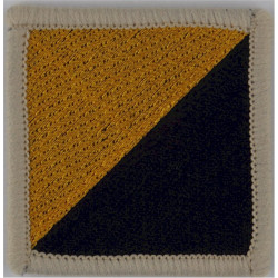 King's Own Royal Border Regiment - 30mm Square Yellow IV On Blue Embroidered Regimental cloth arm badge
