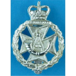 Green Jackets Brigade  with Queen Elizabeth's Crown. Anodised Staybrite army cap badge