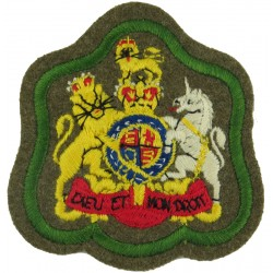 WO1 (RSM) Rank Badge (on Khaki - Green Border) RADC Or Int Corps with Queen Elizabeth's Crown. Embroidered Warrant Officer rank