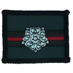 Yorkshire Regiment (Rose On Green/Black/Red Rectangle)  Embroidered Regimental cloth arm badge