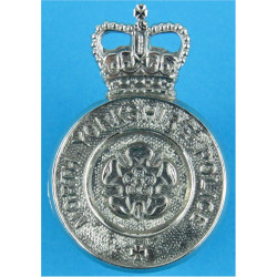 North Yorkshire Police Cap Badge with Queen Elizabeth's Crown. Chrome-plated Police or Prisons hat badge