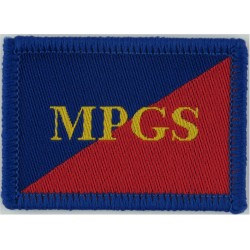 Adjutant General's Corps (Military Provost Guard S) MPGS On Red/Blue  Woven Regimental cloth arm badge
