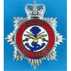 Defence Fire Service - New Shape Star Cap Badge with Queen Elizabeth's Crown. Chrome and enamelled Fire and Rescue Service insig