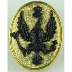 14th/20th King's Hussars LCpl's Armbadge Black Hawk/Gilt Oval  Gilt and black Regimental metal arm badge