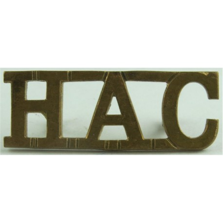 HAC (Honourable Artillery Company) Top-Joined Letters  Brass Army metal shoulder title