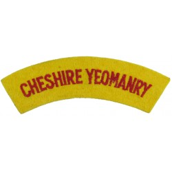 Cheshire Yeomanry Red On Yellow  Embroidered Sew-on Army cloth shoulder title