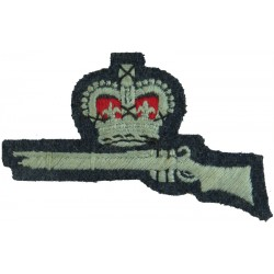 Crown Over Rifle (Marksman - Air Training Corps) FL On RAF Blue-Grey with Queen Elizabeth's Crown. Embroidered Air Force Branch