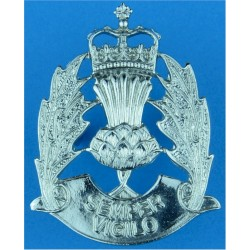 Scottish Police - General Issue - Voided Centre Cap Badge with Queen Elizabeth's Crown. Chrome-plated Police or Prisons hat badg