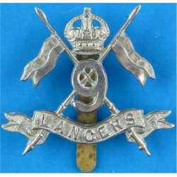 9th Queen's Royal Lancers  with King's Crown. White Metal Other Ranks' metal cap badge