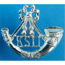 King's Shropshire Light Infantry Mouthpiece FL  Anodised Staybrite collar badge