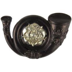 King's Own Yorkshire Light Infantry - Black Bugle Mouthpiece FL  Bi-metallic Officers' collar badge