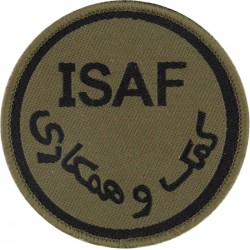 International Security Assistance Force Afghanistan ISAF 73mm Olive Disc  Woven Military Formation arm badge