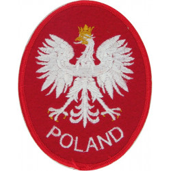 Arm-Badge - Poland - Eagle On Red Oval   Embroidered United Nations insignia