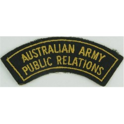 Australian Army / Public Relations - With Border Yellow On Green  Embroidered Non-British Army shoulder title