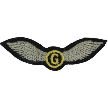 2nd Glider Pilot (Yellow G & Circle With Blue Wings) 1944-1951  Embroidered Army cloth trade badge