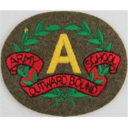 A In Wreath With Army Outward Bound School Scroll On Khaki  Embroidered Army cloth trade badge