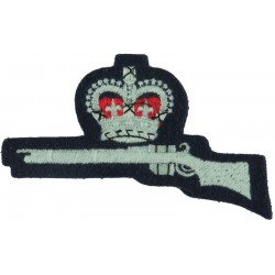 Crown Over Rifle (Marksman - Air Training Corps) On Dark Blue Post-72 with Queen Elizabeth's Crown. Embroidered Air Force Branch