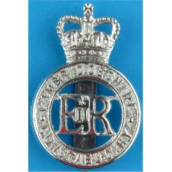 Cambridgeshire Constabulary - EiiR Centre Cap Badge 1952-1965 with Queen Elizabeth's Crown. Chrome-plated Police or Prisons hat