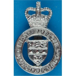 West Mercia Constabulary - Shield Centre Cap Badge 1967-2009 with Queen Elizabeth's Crown. Chrome-plated Police or Prisons hat b