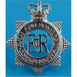 Avon & Somerset Constabulary Star-Shape Post-1974 with Queen Elizabeth's Crown. Chrome-plated Police or Prisons hat badge