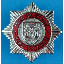 Isle Of Wight Fire Brigade Cap Badge  Chrome and enamelled Fire and Rescue Service insignia