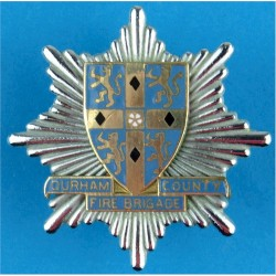 Durham County Fire Brigade Cap Badge 1974-1992  Chrome, gilt and enamel Fire and Rescue Service insignia