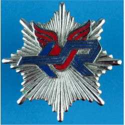 Glamorgan Rhoose Airport Fire Brigade - Cardiff Cap Badge - Wales  Chrome and enamelled Fire and Rescue Service insignia