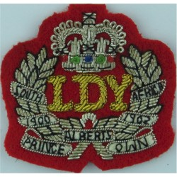 Leicestershire And Derbyshire Yeomanry  with Queen Elizabeth's Crown. Bullion wire-embroidered Regimental cloth arm badge