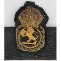 Cunard Line Chief Petty Officers Cap Badge & Hatband Gilt Lion & Globe with King's Crown. Bullion wire-embroidered Merchant Navy