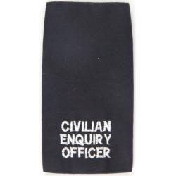 Police Civilian Enquiry Officer Epaulette Slide White On Black  Embroidered UK Police or Prison insignia