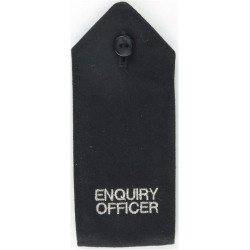 Police Enquiry Officer Shoulder Strap Silver On Black  Embroidered UK Police or Prison insignia