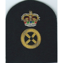 Royal Marines Steering Wheel + Crown: Driver Trade: Gold On Navy with Queen Elizabeth's Crown. Bullion wire-embroidered Marines