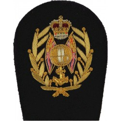 Royal Marines Colour Sergeant Rank Badge Globe/Flags/Laurels with Queen Elizabeth's Crown. Bullion wire-embroidered Marines or C