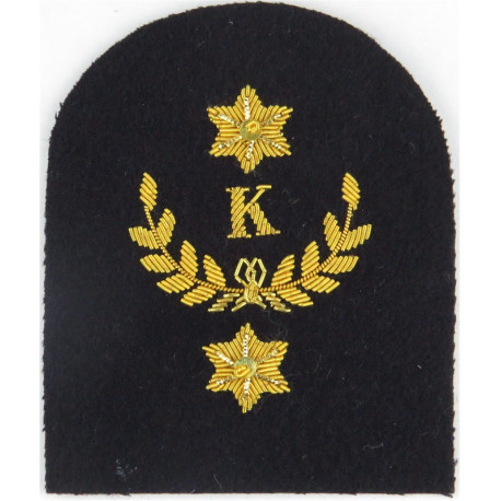 Royal Marines K In Wreath + 2 Stars: Cook Trade: Gold On Navy  Bullion wire-embroidered Marines or Commando insignia